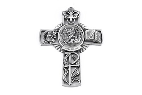 (Pewter Catholic Saint St Michael The Archangel Pray for Us Wall Cross, 5 inch)