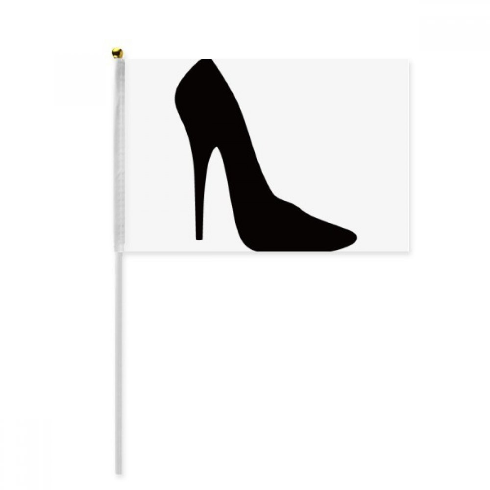 Black High Heels Silhouette Pattern Hand Waving Flag 8x5 inch Polyester Sport Event Procession Parade 4pcs