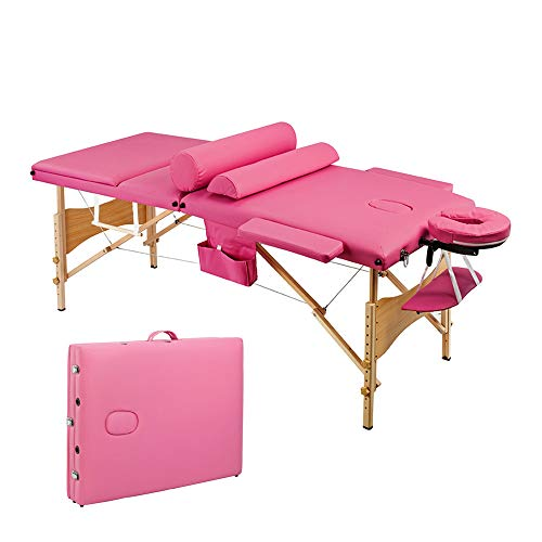 YYAO Massage Table 73 Inch Portable Height Adjustable 3 Fold Professional Massage Bed W/Carry Case Spa Bed Beauty Salon Bed