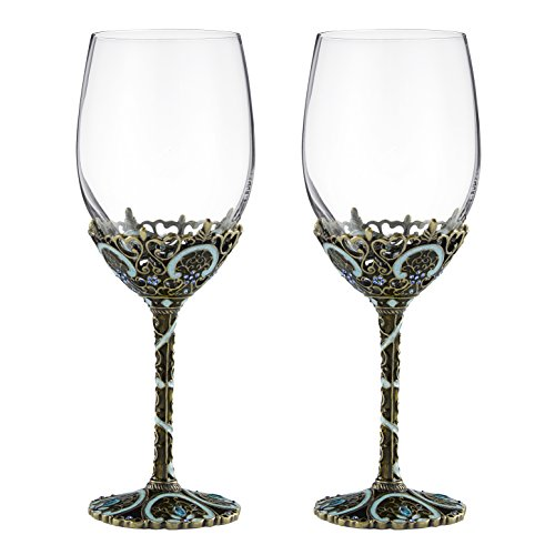 - 12oz Wine Glasses Set of 2, Hand Blown Crystal Wine Glasses Made of Lead-free Glass and Enamels