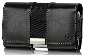 Quaroth Horizontal Slide In Leather Case With Clip, Belt Loop And Flap Closure For HTC One SV Black With Fabric Finish...