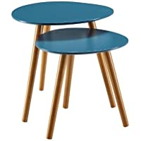 K&A Company Set of 2 - Mid Century Modern End Tables Nesting Side Mid Century contrasting Modern 19 x 19 x 19 inches Featuring in Blue with Solid Wood Legs