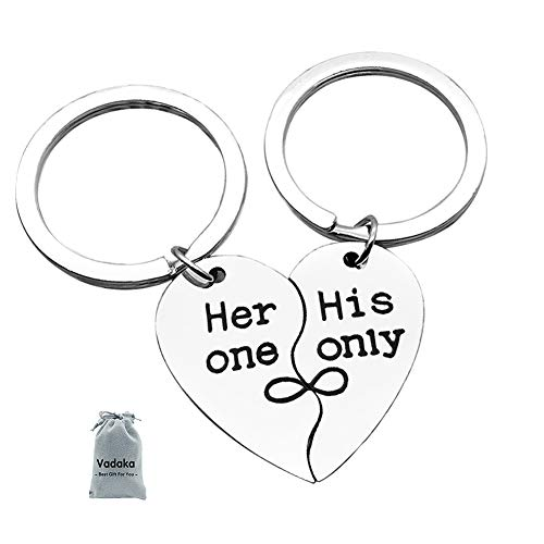 Couple Keychain Gifts for Girlfriend Boyfriend Her One,His Only Matching Couple Keychain set Personalized Couples Jewelry Gift for Valentines Day Wedding Anniversary Christmas(2 PACK)