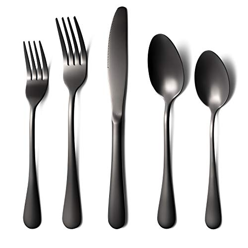 Tebery Stainless Steel Flatware Set 20-piece Silverware Cutlery Set with Serving Pieces Heavy-duty Utensils Service for…