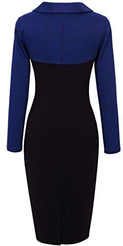 Tunic Chic Lapel HOMEYEE Colorblock Career Retro Dress Women's Blue B238 aYq4F