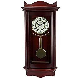 Bedford Clock Collection Weathered Wall Clock with Pendulum, Cherry Wood