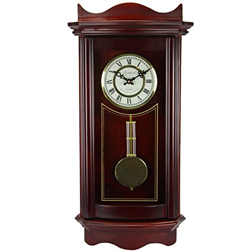 - Bedford Clock Collection Weathered Wall Clock with Pendulum, Cherry Wood