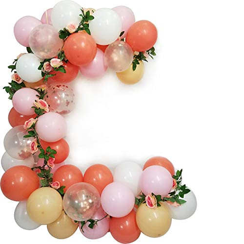(Coral Blush Soft Pink White with Rose Gold Confetti Balloons-Pack of 70 For Girls Birthday Princess Party Decoration)