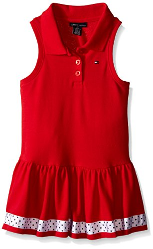 Tommy Hilfiger Baby-Girls Pique Knit Red Dress, Red, 6-9 Months