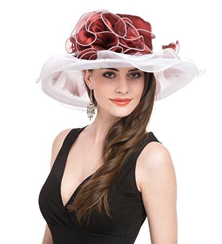 Saferin Women's Organza Church Derby Fascinator Bridal Cap British Tea Party Wedding Hat (Red and White Flower)