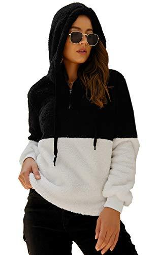 - Angashion Womens Sweatshirt - Long Sleeve 1/4 Zip Up Faux Fleece Pullover Hoodies Coat Tops Outwear with Pocket 174 Black S