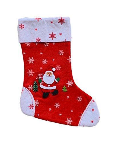 * Weihnachtsstrumpf Weihnachtsstiefel Nikolausstrumpf Nikolausstiefel aus 3 Varianten wählbar (rot-weiss mit Eiskristalle und aufgeklebten Motiven 28 x 20 cm)