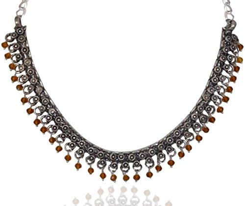 Sansar India Oxidized Silver Plated Beaded Choker Indian Necklace Jewelry for Girls and Women