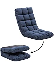 FLOGUOR 42-Position Adjustable Floor Chair Foldable Convenient Padded Gaming Chair Easy for Storage Video Game Chair with Back Support for Meditating, Reading,Gaming Factory Price (Blue) 8812DB