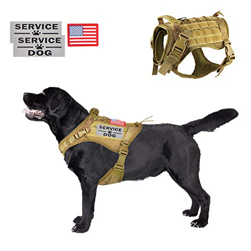 (Tactical Service Dog Harness Vest,K9 Adjustable Work Water-Resistant Military Comfortable Molle Handle with Extenrder Strap (L, Khaki))