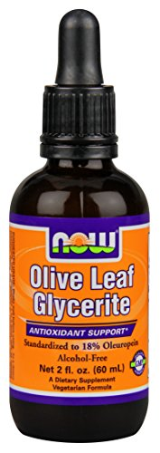 NOW Olive Leaf Glycerite 18% Liquid,2-Ounce