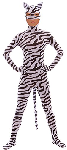 Seeksmile Child Open Eyes Open Nose and Mouth Lycra Leopard Animal Zentai (Small, Zebra-Kids)