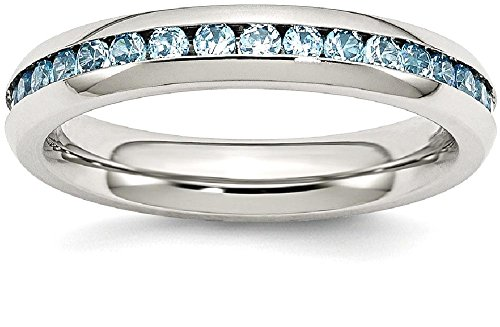 ICE CARATS Stainless Steel 4mm December Teal Cubic Zirconia Cz Band Ring Size 9.00 Birthstone Fashion Jewelry Gift Set For Women (Sisters Birthstone Heart Ring)