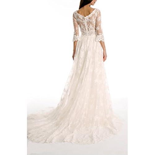 Tsbridal Lace Wedding Dress 2018 3 4 Sleeves Bohemian