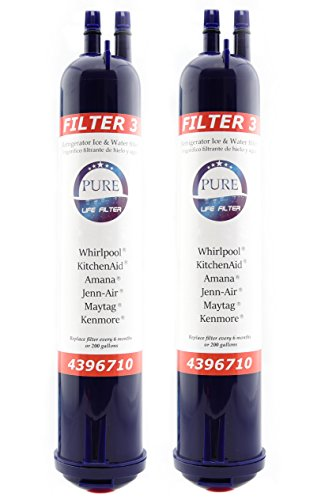 Pure Life Filter 3 Compatible With 4396841 4396710, Refrigerator Replacement Water Filter Pur Kenmore Sears Refrigerator Water Filter Push Button - 2 Pack