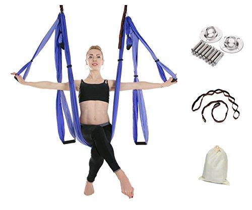 Gpeng Aerial Flying Yoga Hammock Set - Yoga Swing / Inversion / Sling Hammock with 2 Daisy Chain Adjustable Straps + All Installation Hardward + Installation Guide (DoublePurple)
