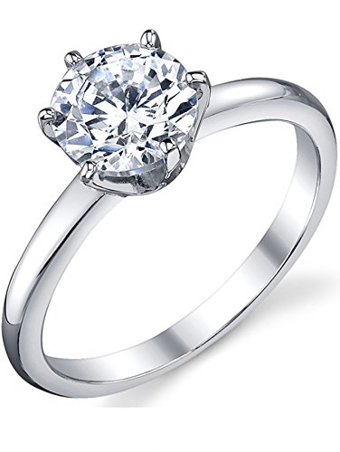 (1.25 Carat Round Brilliant Cubic Zirconia CZ Sterling Silver 925 Wedding Engagement Ring Size 5)