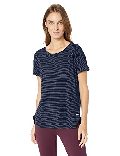 Amazon Essentials Women's Patterned Studio Relaxed-Fit Crewneck T-Shirt Shirt, -navy stripe, Medium
