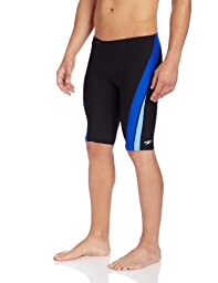 Speedo Men\'s Endurance+ Launch Splice Jammer Swimsuit, Black/Blue, 34