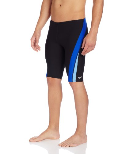 Speedo Men's Endurance+ Launch Splice Jammer Swimsuit, Black/Blue, 32 (Speedo Mens Jammers)