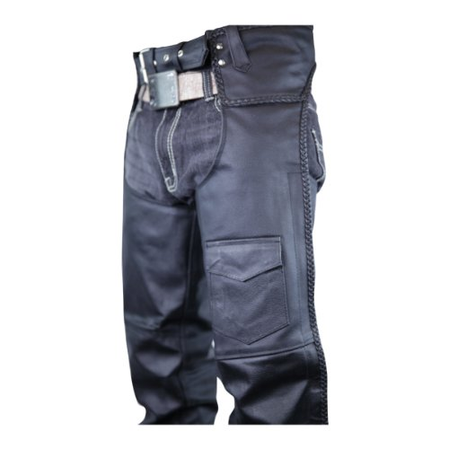 Classic Braided Biker Leather Chaps XL