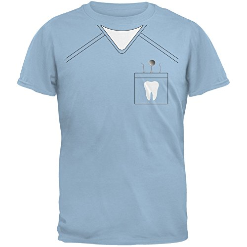 [Halloween Dentist Scrubs Costume Light Blue Youth T-Shirt - Youth Small] (Scary Dentist Costume)