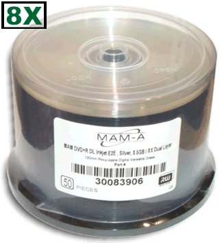 MAM-A (Mitsui) 8X Double Layer 8.5 GB *SILVER* Inkjet Hub Printable DVD+R's 50-Pak in Cakebox by MAM-A