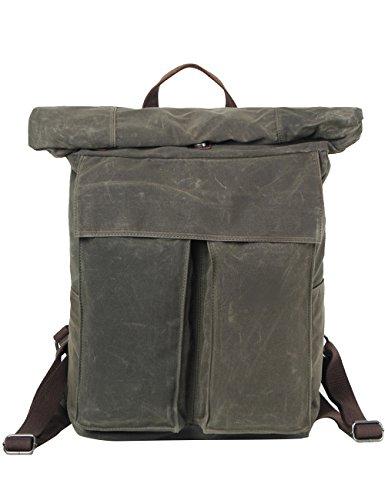 CUKKE Wasserdicht Canvas Rucksack Vintage Rucksack Schulrucksack Retro Rucksack Daypack Backpack Lederrucksack Wanderrucksack Reisetasche Laptoprucksack Schwarz Grün