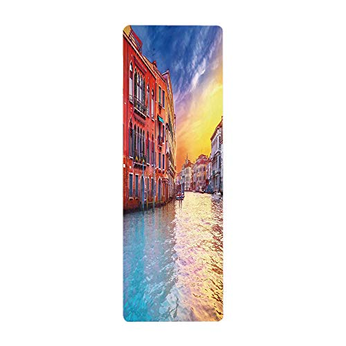 iPrint Yoga Towel, 100% Microfiber Yoga Mat Towel,Italian Decor,European Magical Venice Canal with Historical Buildings Famous Town Scenery,Blue Orange,for Hot Yoga, Pilates and Fitness by iPrint