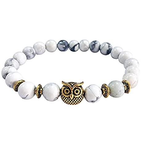 YIWULA Volcanic Bracelet Owl Bracelet Gold Bracelet Lava Stone Bead Bracelets (White)