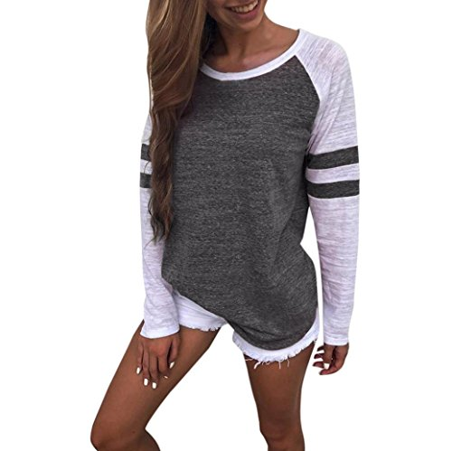 Muranba Womens Long Sleeve Round Neck T Shirts Casual Splice Blouses Tops (Dark Gray, ()