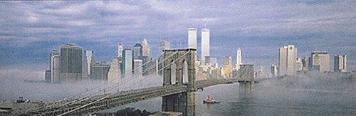 Manhattan in the Mist Skyline Art Print Poster Panoramic Night Brooklyn Bridge Twin Towers