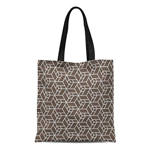 Semtomn Cotton Canvas Tote Bag Brown Korea Chinese Simple Oriental Pattern Abstract Contemporary Asian Reusable Shoulder Grocery Shopping Bags Handbag Printed