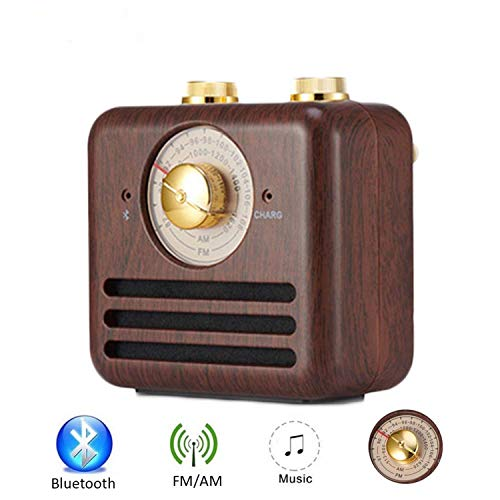 Vintage Radio Retro Speaker, Wireless Bluetooth Speaker with Wooden FM Radio,Classic Style Strong Bass Enhancement, Loud Volume for Home,Office,Travel