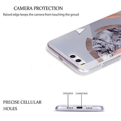 Funda Xiaomi Mi 6, Carcasa Mi 6, RosyHeart Suave Transparente TPU gel Silicona Cover con patrón de Mármol Premium Delgado Flexible a prueba de caídas Caja Protector Bumper para Xiaomi Mi 6 5.15 - Ros Empalme