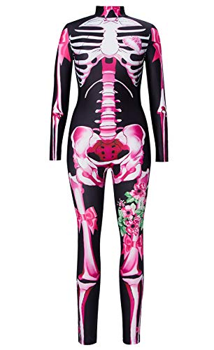 Pink Bodysuit Halloween (RAISEVERN Women's Halloween Skeleton Bodysuits Cosplay Costume Zombie Party Pink X-Ray Bones Skull Flowers All Saints' Day One Piece Jumpsuits Black Stretch Long Sleeve Zipper Zentai)