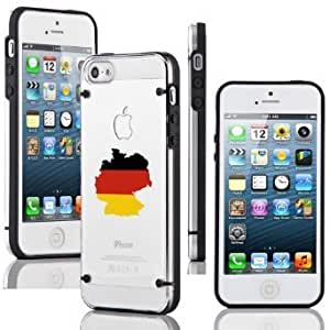 Apple iPhone 6 6s Ultra Thin Transparent Clear Hard TPU Case Cover Germany German Flag (Black)
