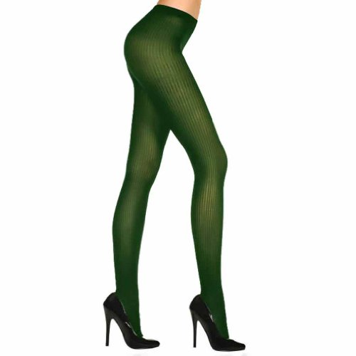 Luxury Divas Dark Green Semi Sheer Ribbed Knit Nylon Tights