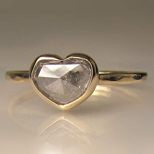 22b3395a03 Amazon.com: Heart Shaped Rose Cut Diamond Engagement Ring in 14k Yellow  Gold: Handmade
