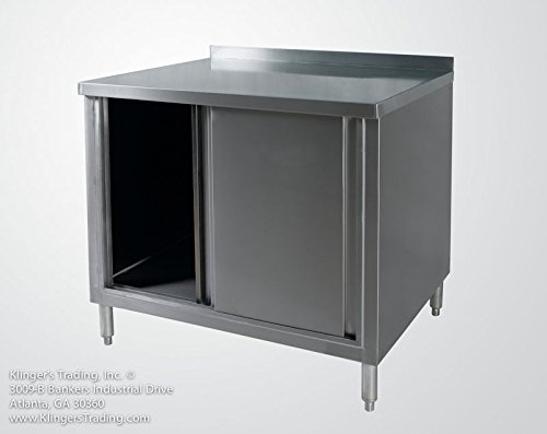 24''x48'' Stainless Enclosed Work Table Cabinet with Back Splash by Sani-Safe