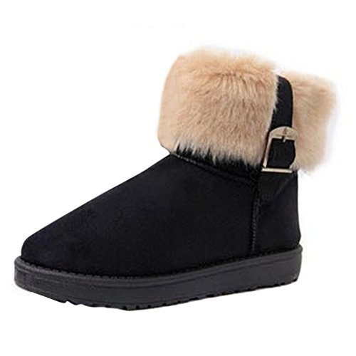 Boots Ankle Hee Snow Black Boots Fashion Fur Grand Women Winter Faux qwzHTCq