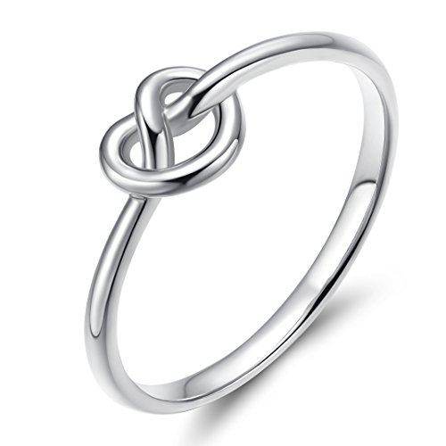 (EAMTI 925 Sterling Silver Infinity Ring Celtic Heart Love Knot Thin Promise Band for Women Girls)