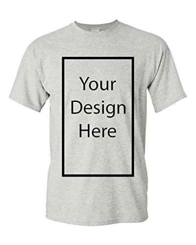 Add Your Own Text and Design Customizable Personalized Adult T-Shirt Tee (XXXXX Large, Ash) -