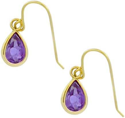 14Kt Yellow Gold Created Alexandrite Pear Bezel Dangle Earrings