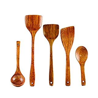 esonmus 5Pcs/Set Kitchen Cooking Utensils Wooden Holes Ladle Scoop Spatulas Soup Spoon Chef Nonstick Food Kitchenware Cookware Tools